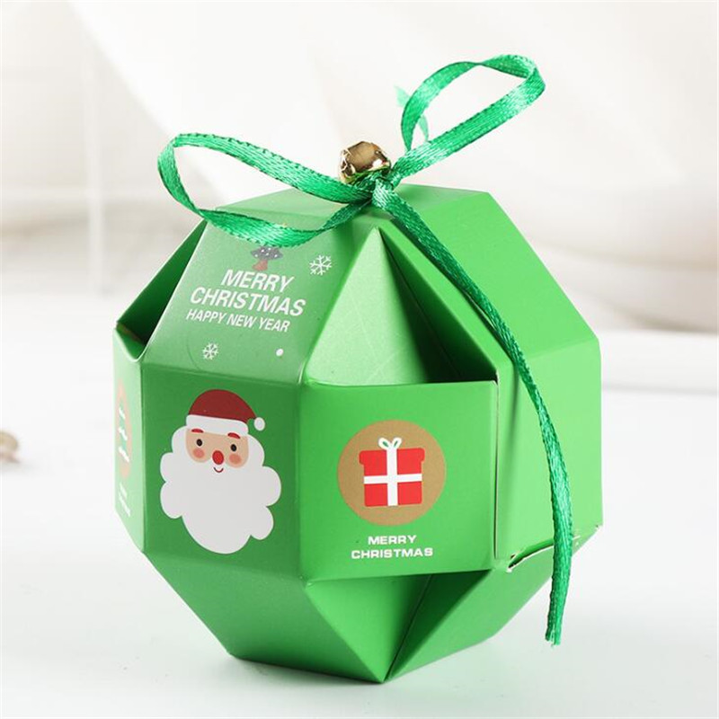 20Pcs/Lot Jewelry Boxes And Packaging Candy Box Wedding Gift Santa Claus With Ribbon Bell Birthday Christmas Decorations Present - 5