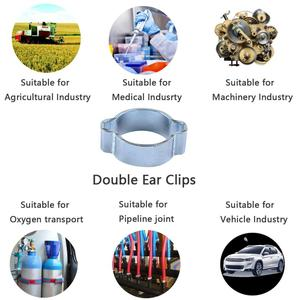 10 pces zinco chapeado duplo orelha crimp o clipes ar mangueira de combustível braçadeiras de tubulação 7-9mm