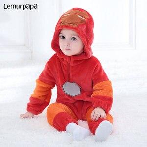 Image 4 - Demir adam Romper erkek bebek giysileri Onesie yenidoğan çizgi film kostümü komik serin pijama pazen sıcak kış bebek oyun oynamak takım elbise