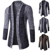Ретро мужской лоскутный длинный рукав вязаный свитер кардиган пальто верхняя одежда