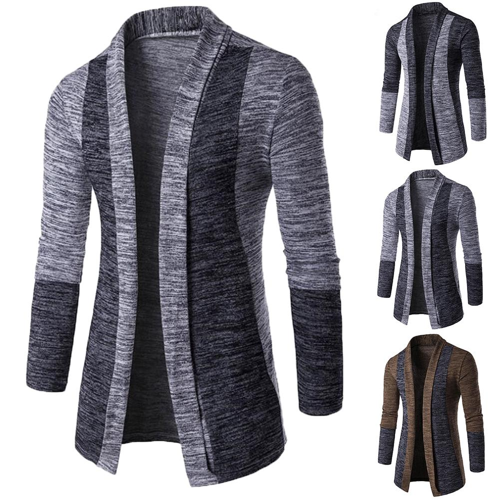 Retro Men Patchwork Long Sleeve Knitted Sweater Cardigan Coat Outwear   Clothing