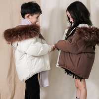 HSSCZL Girls duck down jackets 2019 winter big natural fur kids infant child outerwear overcoat girl warm fashion clothes 3T 16Y