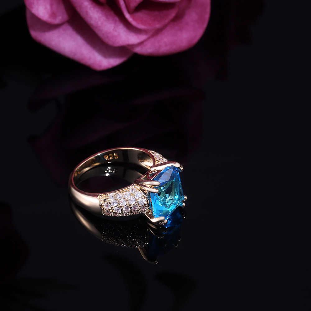 หญิงหรูหรา Square Blue Zircon แหวนแฟชั่นสี Yellow Gold หมั้นแหวนคริสตัลแหวนผู้หญิง