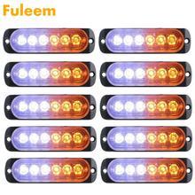 Fuleem 10 шт. 18 Вт стробоскоп 6 светодиодный светильник белый Янтарный аварийный мигающий Предупреждение эвакуатор 12 В 24 в водонепроницаемый