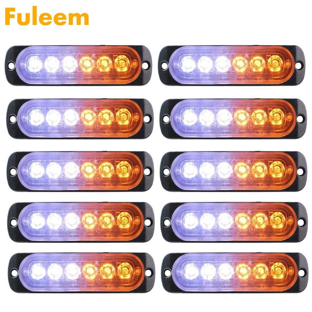 Fuleem 10PCS 18W Strobe 6 LED Light White Amber Emergency Hazard Flashing Warning Tow Truck 12V 24V Waterproof