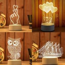 3D LED table lamp jellyfish owl night light ABS + acrylic ch
