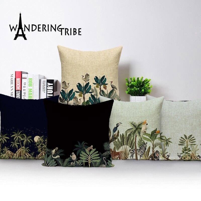 Tropical Jungle Cushion Cover Monkey Flamingo 45X45Cm Pillow Case Plant Decorative Pillowcases On Pillows Cushion Covers Kissen