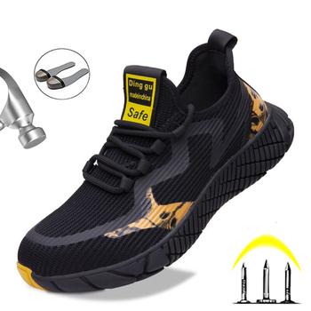 2020 nowe męskie buty robocze bhp Mesh oddychające męskie buty na świeżym powietrzu stalowa nasadka na palec Anti-smashing odporne na przebicie trampki męskie buty tanie i dobre opinie Quanzixuan Pracy i bezpieczeństwa CN (pochodzenie) Mesh (air mesh) ANKLE Mieszane kolory Cotton Fabric Okrągły nosek