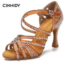 CINMIDY Breathable Rhinestone Latin Dance Shoes Tango Salsa Rumba Samba Ballroom Party Ladies High Heels Soft Sole Women Sandals
