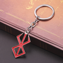 Japan Game PS4 Berserk keychain Mini Red Logo Legendary Mad Warrior Of Norse Viking Mythology Keyring Men Jewelry Accessories