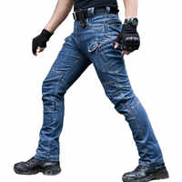 Mcikkny Men's Tactical Jean Pants With Multi-pockets Fashion Motorcycle Denim Trousers For Male Biker Jean