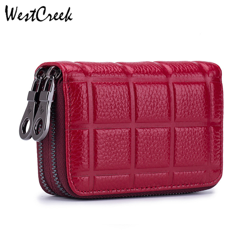 Genuine Leather Credit Card Holder For Women Female Double Zipper Leather Cardholder Wallet Men Card Purse With Coin Pocket RFID