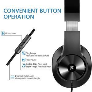 Image 2 - Oneodio T3 auriculares por encima de la oreja con cable, auriculares de graves estéreo con micrófono, auriculares ajustables para teléfono móvil