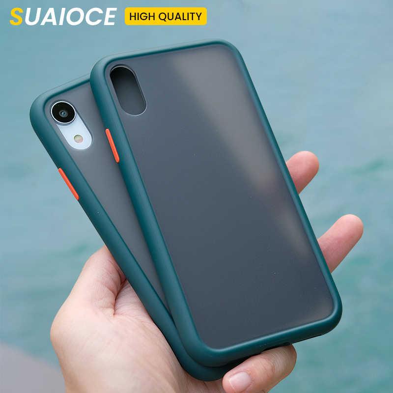 Funda de teléfono de silicona transparente mate a prueba de golpes SUAIOCE para iPhone 11Pro X XS Max XR 8 7 Plus funda de protección trasera de lujo