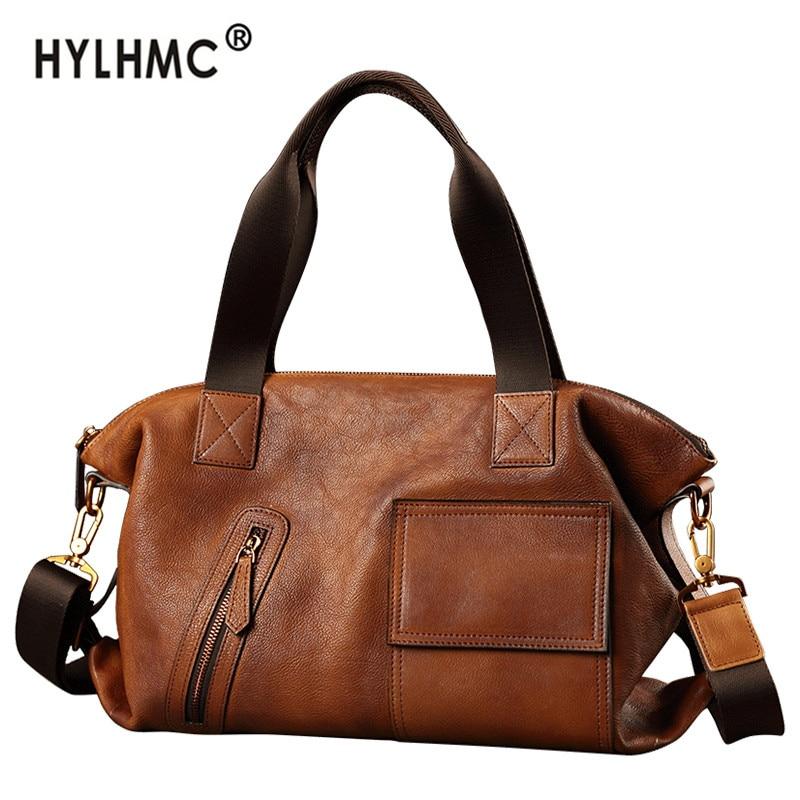 Laptop Bags leather men's bag tide brand men handbag soft leather travel messenger bag shoulder bag korean retro casual 2020 ne