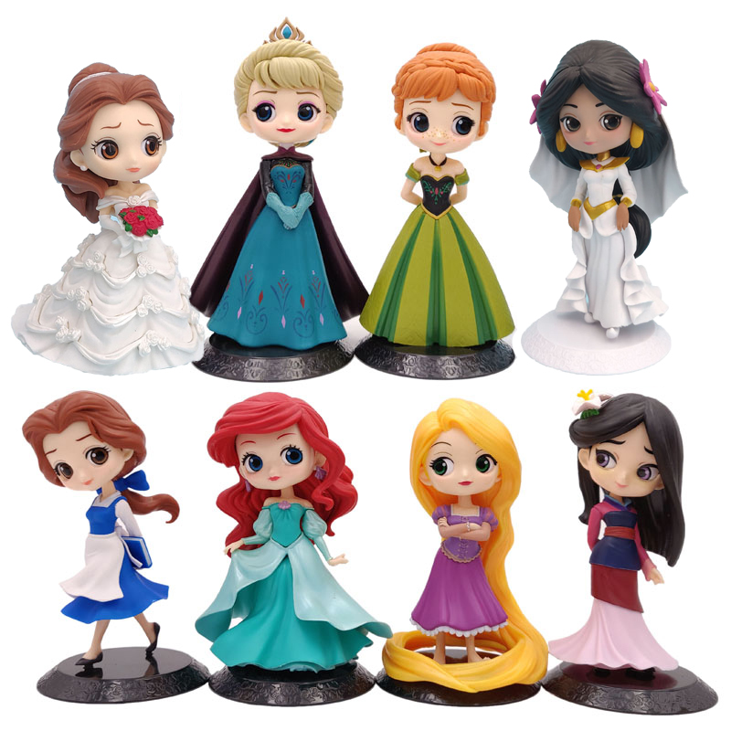 Q Posket Fairy Princess Ariel Elsa Anna Mulan Belle <font><b>Sexy</b></font> Figure 15cm PVC Action Figure Toy For Kids Birthday Christmas Gift image