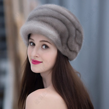 Imported Mink Hat Female Mink Whole Mink Fur In Winter Thicken And Warm Leather Hat Female Mink Hair In Winter mink keer серый 5xl