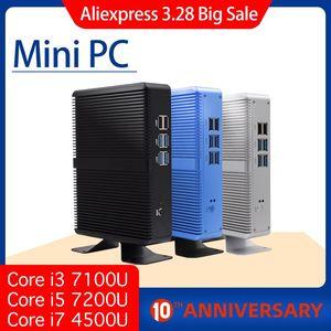 Image 1 - هيستو رخيصة i7 كمبيوتر مصغر 4010Y 4500U 4K الترا HD كور i5 7200U ثلاثية الأبعاد بلو راي بدون مروحة الكمبيوتر Windows10 لينكس شكل صغير الكمبيوتر DDR3