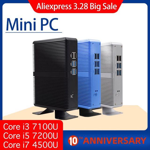 هيستو رخيصة i7 كمبيوتر مصغر 4010Y 4500U 4K الترا HD كور i5 7200U ثلاثية الأبعاد بلو راي بدون مروحة الكمبيوتر Windows10 لينكس شكل صغير الكمبيوتر DDR3