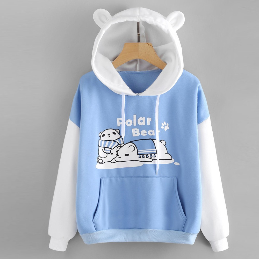 Sweatshirt Hoodies Women Patchwork Cat Ear Long Sleeve Polar Bear Print Cat Ear Kangaroo Pocket Hooded Pullovers Autumn Moletom