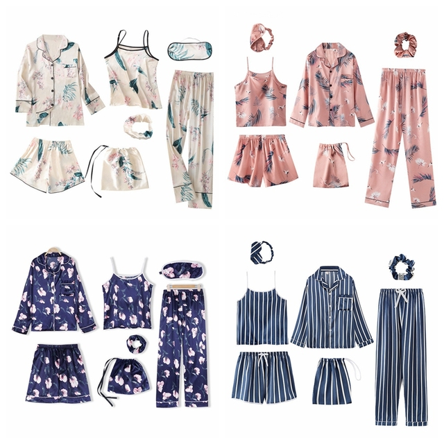 JULY'S SONG Pink 7 Pieces Women's Pajamas Sets Faux Silk Striped Pyjama Women's Pajamas Sleepwear Sets Spring Summer Homewear 6