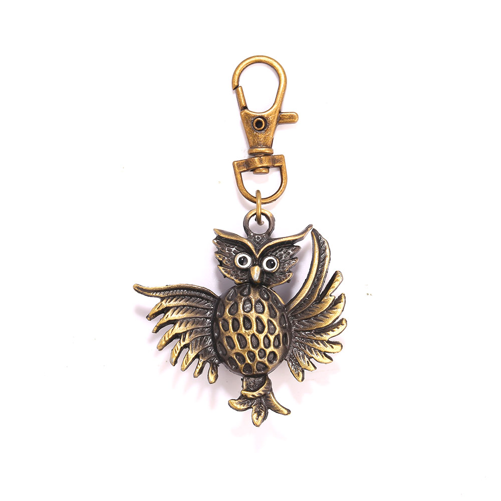 Small Bronze Fried Owl Roman Scale Pocket Watch Personality Creative Retro Gift Quartz Pocket Watch With Necklace