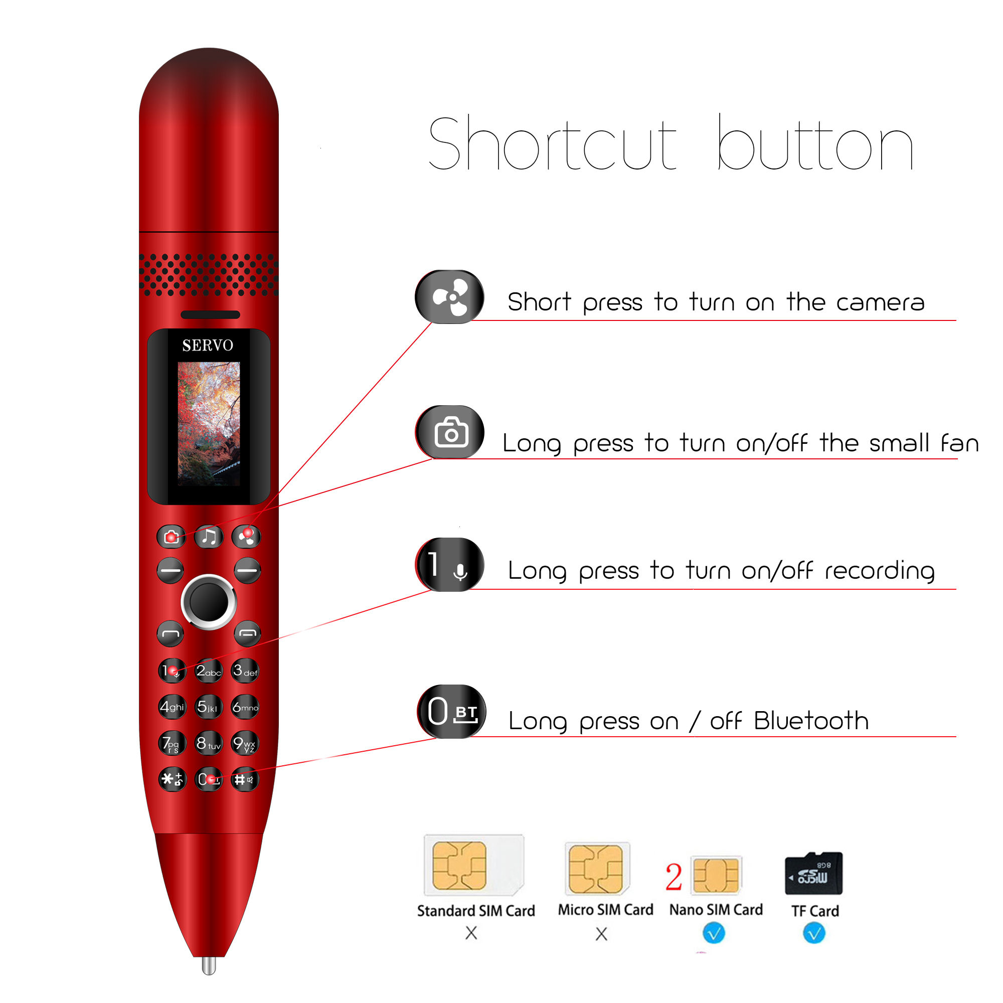 K08 Electric fan Recording Pen small mini mobile phone gsm Bluetooth Dialer push-button Magic Voice Russian keyboard cellphone