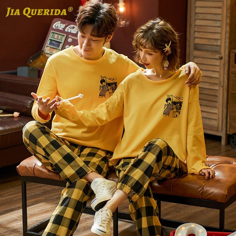 2020 New Sleepwear Fashion Crew Neck Pajamas Couple Homesuit Plaid Printing Pajamas Pajamas Set Casual Style Pj Set Homeclothes
