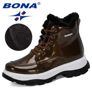 Image 1 - BONA 2019 yeni tasarımcılar popüler İngiliz deri kalın yarım çizmeler bayan botları motosiklet botları bayanlar kış peluş çizmeler