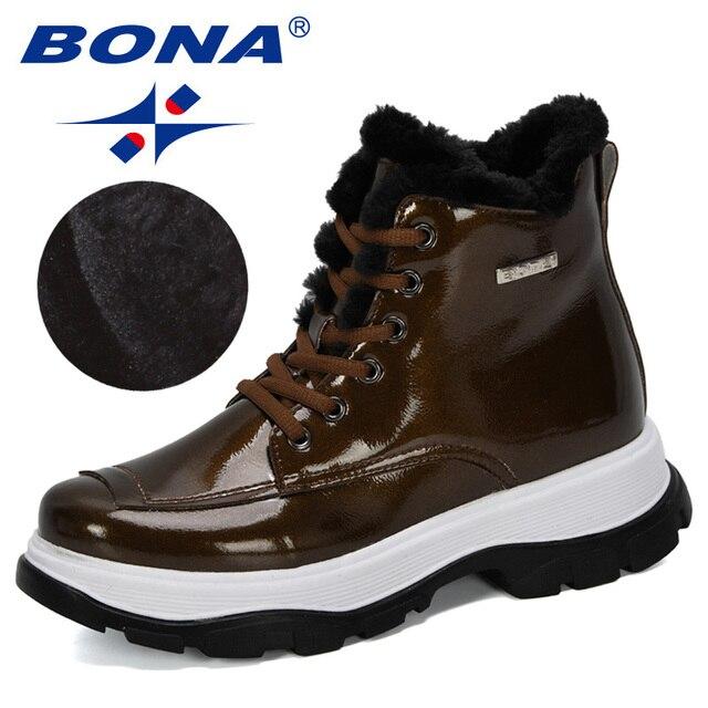 BONA 2019 yeni tasarımcılar popüler İngiliz deri kalın yarım çizmeler bayan botları motosiklet botları bayanlar kış peluş çizmeler