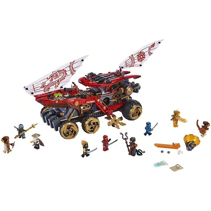 New 1232pcs The Phantom Ninja Series Is Compatible Ninjagoing 70677 Land Bounty Truck Model Building Blocks Toys for Children