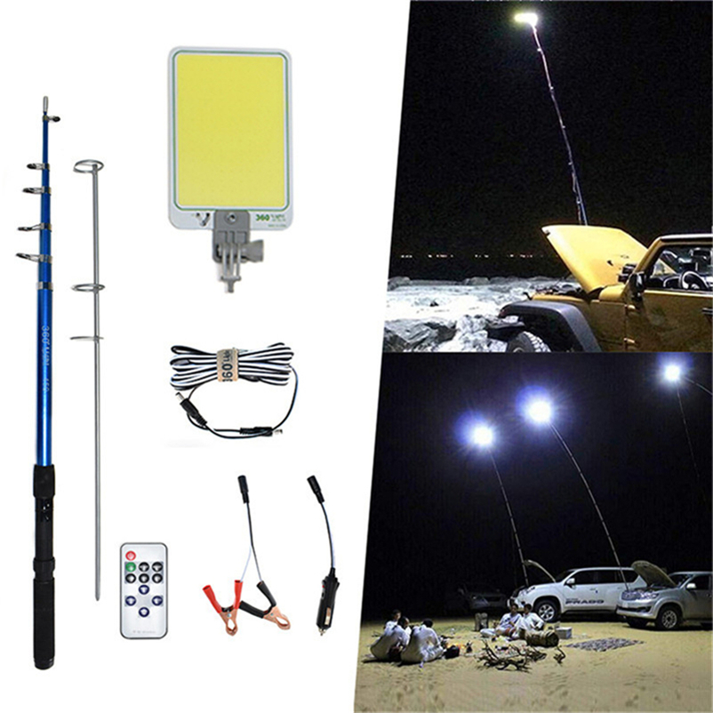 Portable Outdoors Road Travel LED Camping Lamp Off-road Emergency Spotlight Ip65 COB Rechargeable Dimmable 4.5m Telescopic Post