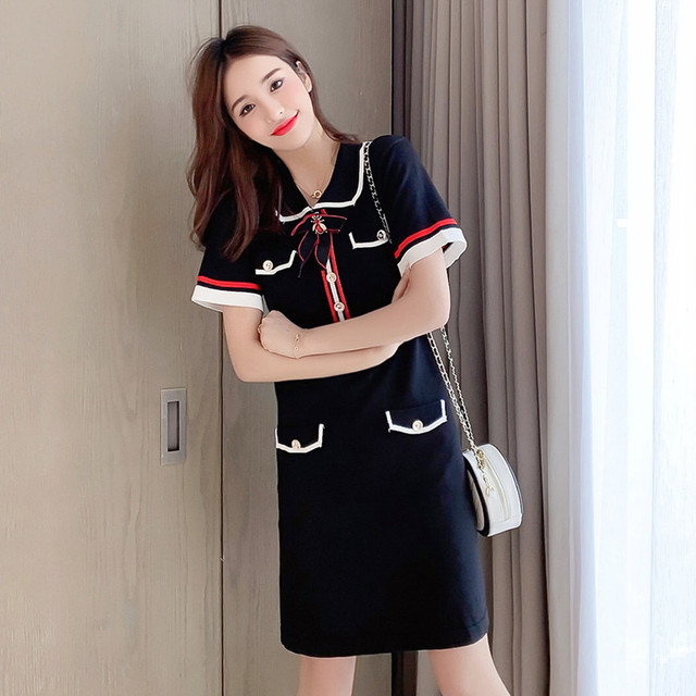 2020 Summer Girls Bees Beading Bowknot Knitted Women Dress Short Sleeve Striped Mini Dresses Sweet Vintage Female Vestidos