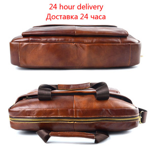 Image 3 - AETOO Genuine Leather real leather laptop bag business Handbags Cowhide Men Crossbody Bag Mens Travel brown leather briefcase