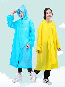 Waterproof Rain Poncho Coat Adult Clear Transparent Camping Hoodie Rainwear Suit Fashion EVA Women Man Raincoat Thickened 60y991