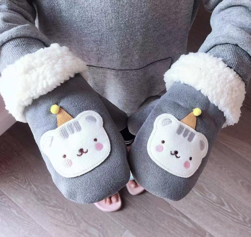 Autumn Winter Children Thicken Warm Faux Suede Leather Glove Boy Girk Kids Lovely Cartoon Mitten R2075