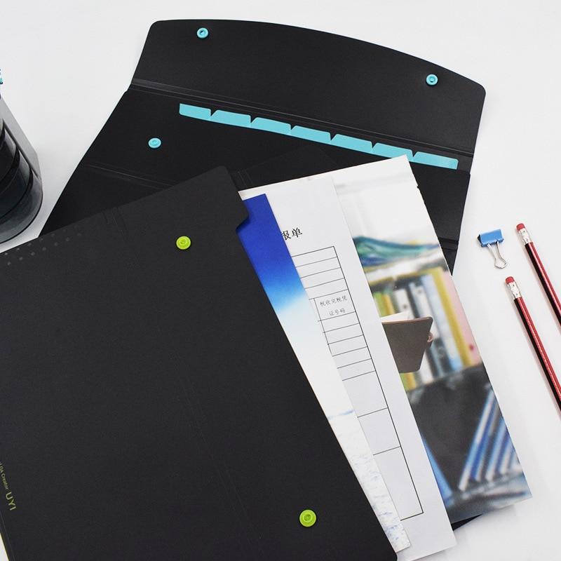 5PCS 5-cell Double-button Organ Bag Student Cute A4 Color File Folder Test Paper Clip Multi-layer File Bag Data Storage Bag
