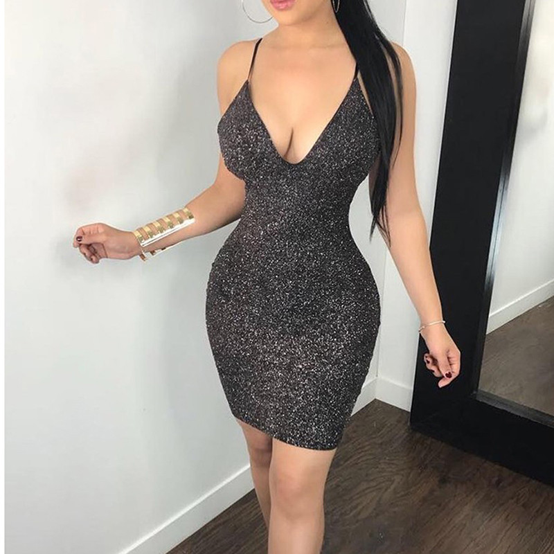 glitter sparkle bling deep v neck dress sexy party 2020 autumn winter elegant bodycon christmas sequins club office