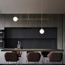 Modern yemek odası bakır LED avize Nordic oturma odası asılı lamba yatak odası ışıkları çalışma cam küre aydınlatma armatürü
