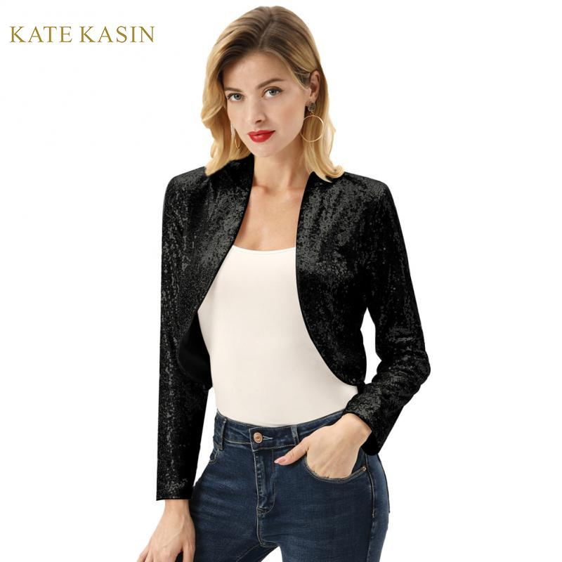 Kate Kasin Sequin Cardigan Tops Women Long Sleeve Cropped Glitter Jacket Open Front Sequined Bolero Jacket Sparking Shrug S-XXL