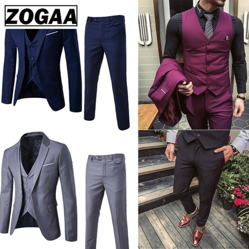 ZOGAA Men Dress Suits Fashion Business Slim Fit Wedding Groom Suits Pure Color 3 Piece Of Suits Men Casual Suits Plus Size 5XL