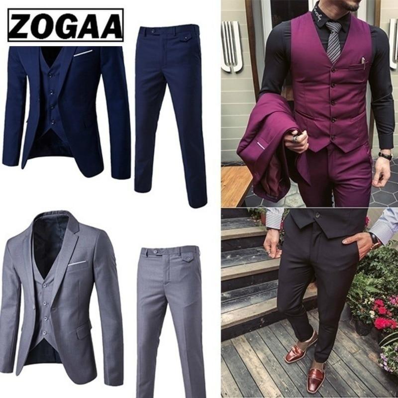 ZOGAA Men Dress Suits Fashion Business Slim Fit Wedding Groom Suits Pure Color 3 Piece of Suits Men Casual Suits Plus Size 5XL