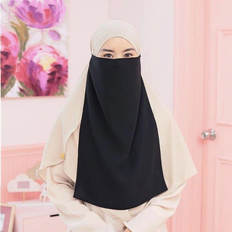 Islamic Femme Niqab Burqa Hijab Muslim Veil Mask Face Cover Scarf Arab Bandana Women Ramadon Prayer Shawl Islam Headband