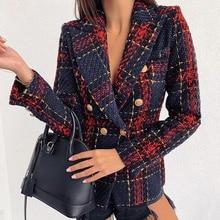 Женское клетчатое пальто, зима, элегантное женское двубортное тонкое офисное пальто, Mujer, модные женские куртки, Повседневная Верхняя одежда D25