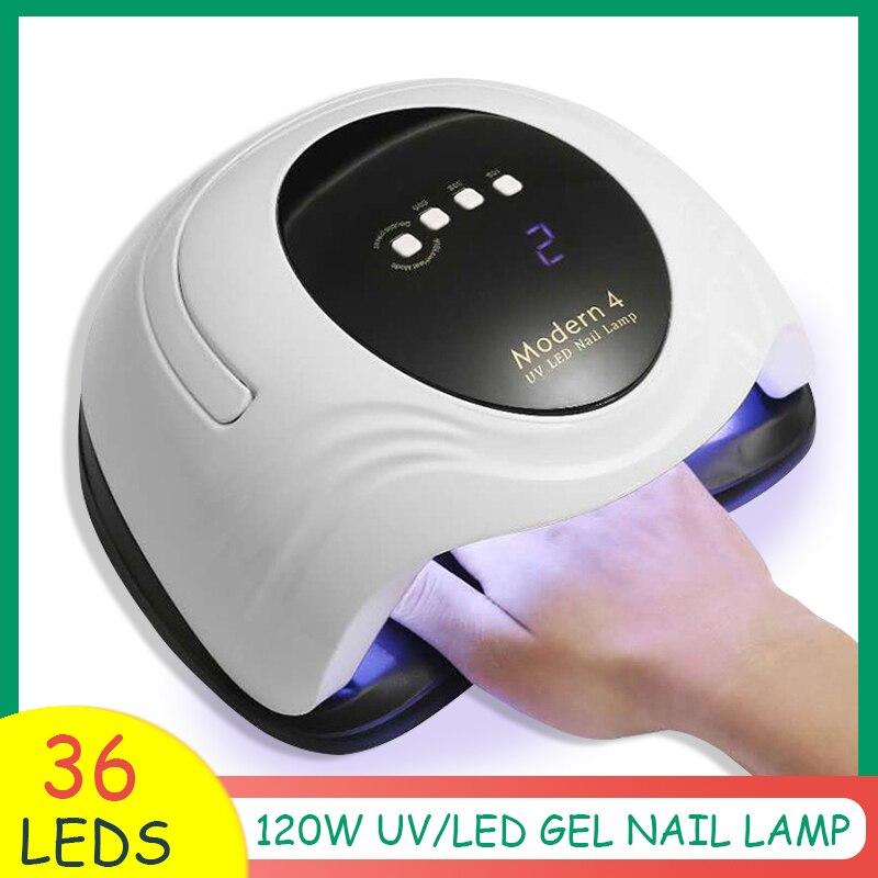 Современный 4 Сушилка для ногтей 120W Светодиодный УФ-лампы для ногтей всех гель лак для ногтей Полировка с автоматическим Сенсор цифровой Ди...