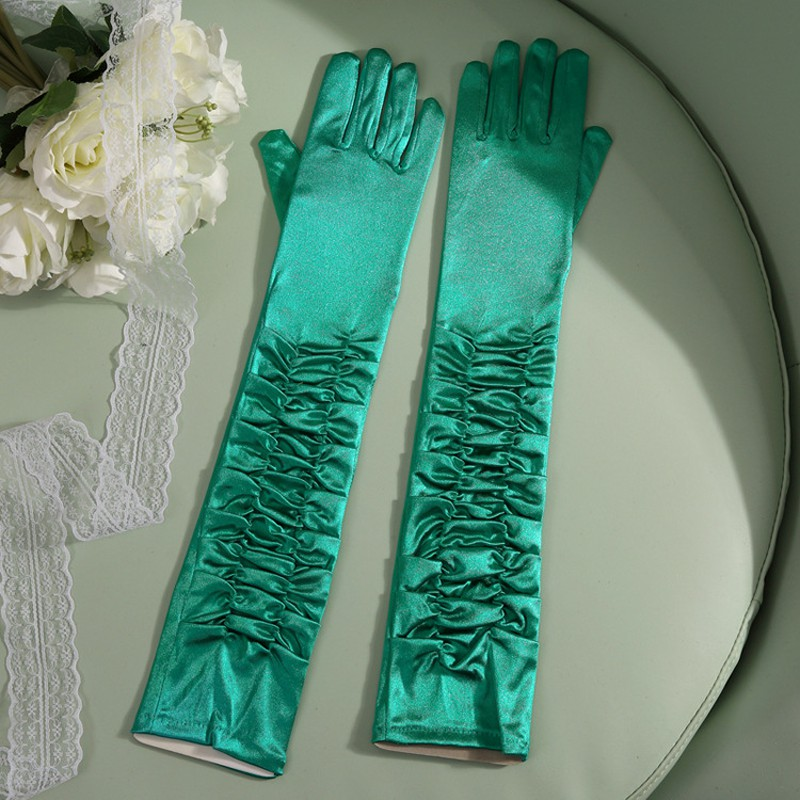 Chic Women Chrismas Satin Stretch Halloween Blue Pink Gloves Guantes De Boda Prom Party Long Ladies Evening Gloves ST200
