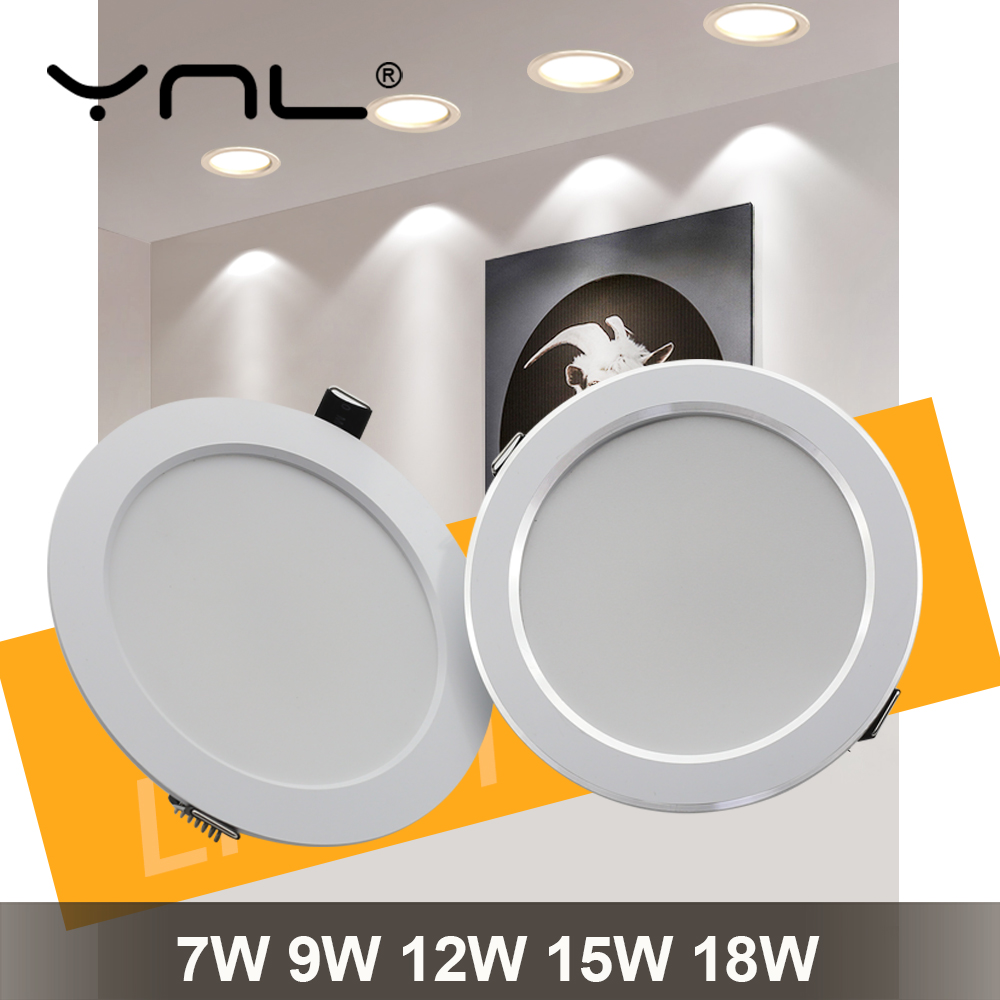 LED Downlight 18W 15W 12W 9W 7W Round Recessed Lamp AC 220V Led Down Light 240V Home Decor Bedroom Kitchen Indoor Spot Lighting