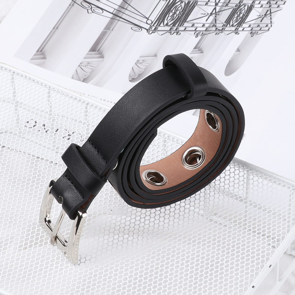 Fashion Punk PU Leather Belt 2 Layer Metal Chain Hoop Rings Hip Hop Waist Belt