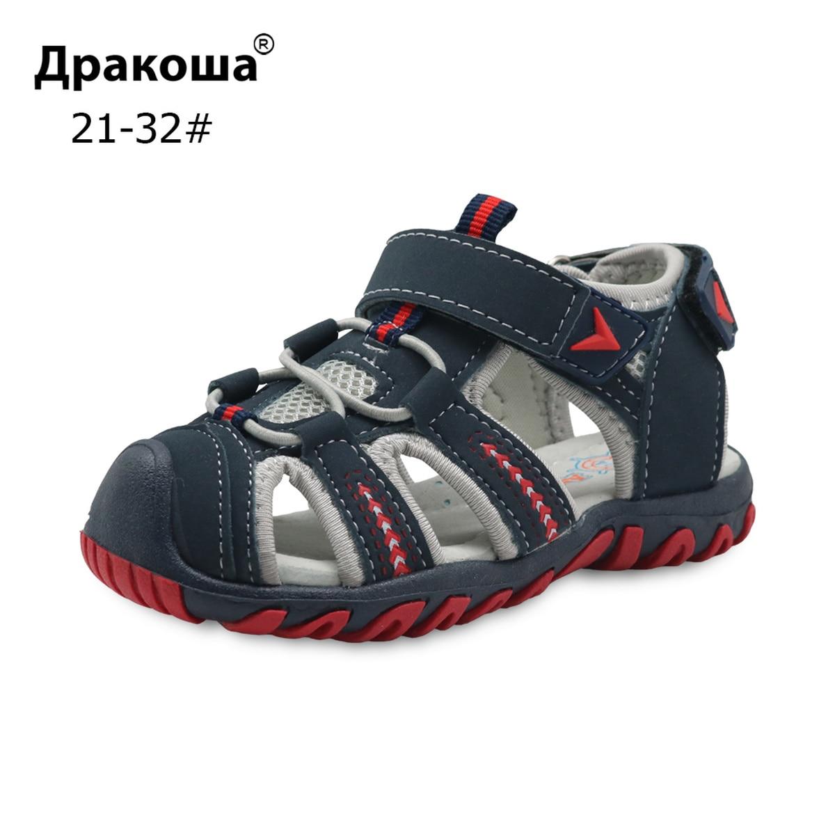 Apakowa Summer Sandals Boys New Fashion Kids Sport Sandals Arch Support Non-slip Toddler Beach Sandals For Children's Shoes