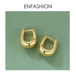 Image 4 - ENFASHION U צורת חישוק עגילי זהב צבע חמוד גיאומטרי קטן מעגל חישוקי עגילי תכשיטים לנשים מתנה Aros E191114